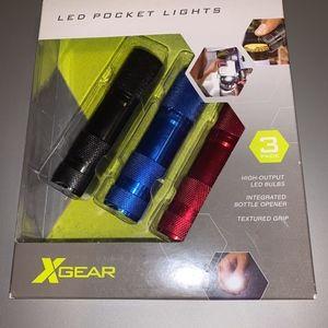 Led pocket lights, intergrated bottle opener